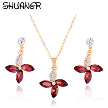 SHUANGR New Elegant Wedding Jewelry Sets Gold Pomegranate red Crystal Hoop Earrings Necklace Set Jewelry Sets For Women Gifts(China)
