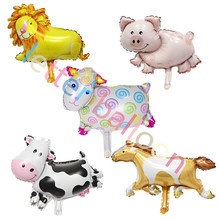 Lucky 50pcs/lot 40*30cm Mini Animal Balloons Lion & Cow & Pig & Horse &sheep Foil Air Balloons Party Decoration Globos(China)