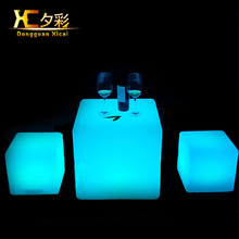 Chargeable Remote Control Led Cube Stool Illuminate Cordless Bar Plastic Chair Lighted Table