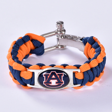 Auburn Tigers Custom Paracord Bracelet NCAA College Football Charm Bracelet Survival Bracelet , Drop Shipping! 6Pcs/lot!(China)