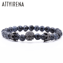 New Design Stone Bracelet Men Women Popular Stone Bracelet Skull Micro Pave CZ beads Skull Male Bracelet Crown Zircon Bracelets(China)