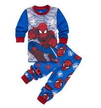 1 set Children Cotton Long Sleeve Cartoon Spiderman Pajamas Baby Girl Boys Superman Sleepwear kids t-shirts+pants clothes set(China)