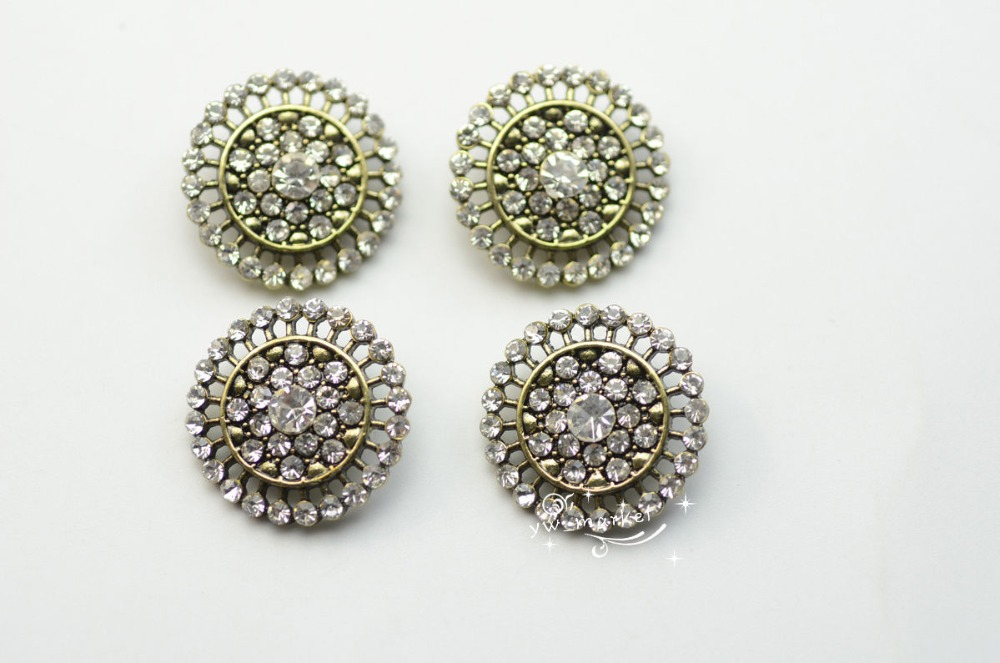 10 PCS Rhinestone Button Costume Dress Applique Vintage Green A159(China)