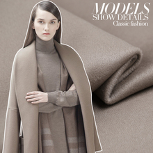 Hot sale fashion Camel ash exalted imported double-sided superfine cashmere wool fabric for coat tissu au meter bright cloth DIY