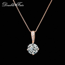 Double Fair OL Style Chain Necklaces & Pendants Silver/Rose Gold Color Fashion Cubic Zirconia Wedding Jewelry For Women DFN426(China)