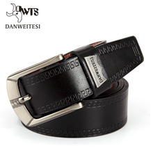 [DWTS]2016 Fashion Men Belt Faux Leather Waistband Vintage Classic Pin Buckle Design Belts For Men ceinture homme luxe marque(China)