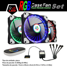 ALSEYE 120mm cooler fan for computer LED RGB fan cooler with 5 channels touch remote controller, DC 12v 1100RPM