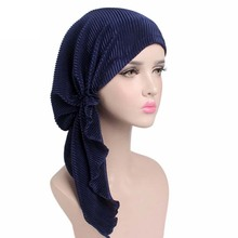 2017 New women soft ruffle head Scarf Chemo Hat Turban Pre-Tied Headwear Bandana headscarf Tichel for Cancer(China)