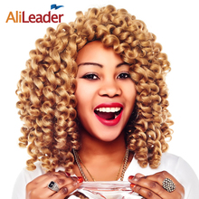 AliLeader Blonde/Red/Black Braids Heat Resistant Synthetic Hair Weave, Bounce Wand Curl 5Pcs/Lot Crochet Curly Hair Extension