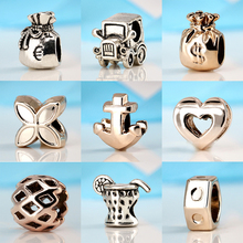 Fashion Silver Plated Bead Charms Dollar Purse,Retro Car,Heart Beads Fit Pandora Bracelets & Bangles DIY Jewelry(China)
