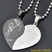 Men's Women's Stainless Steel Love Heart Shaped Couple Pendant Necklace for Lover's Day Gift 4TBX