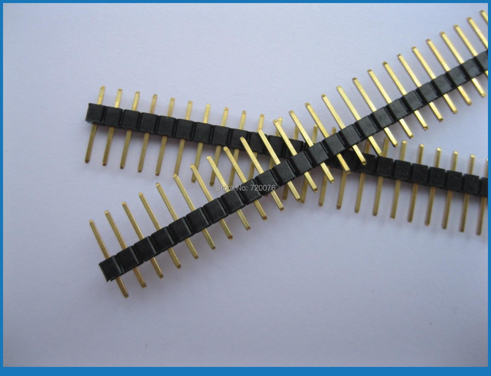 200 pcs 2.54mm Breakable Pin Header 1x40 40pin Male Single Row Strip Gold-Plated<br>