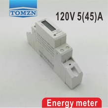 5(45)A 45A 120V 60HZ Single phase Din rail KWH Watt hour din-rail energy meter LCD(China)