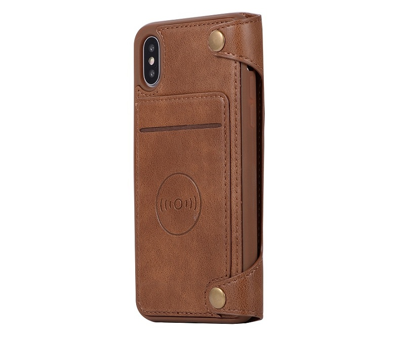 genuine leather flip case for iPhone x phone luxury card cover