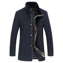 Fashion Brand Clothing Men Woolen Jacket Casual Thick Fur Collar Stand Collar Slim Single breasted Men Wool Coat Navy Blue M-3XL