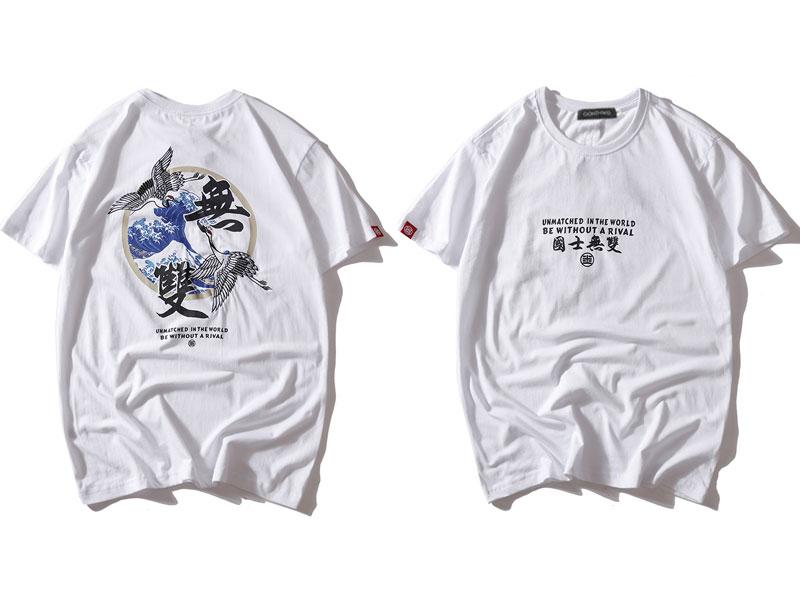 Japanese Embroidery Crane Waves Tshirts 3