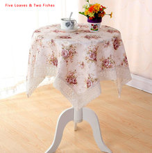 Hot Sale Flower Tablecloth Polyester Tablecloths Round Rectangular Pastoral Roses Table Cloth Lace Edge Table Cover