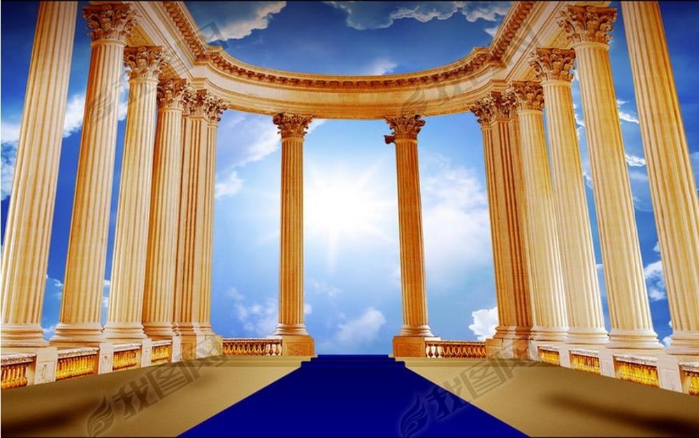 luxury background wallpapers Custom 3d wall mural wallpaper White clouds Roman column non-woven angel wallpaper murals<br>