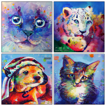 Needlework Animal Cross Stitch Full Diamond Embroidery Mosaic Home Decor Diy Diamond Painting Dog Cat Tiger Pictures Gift(China)