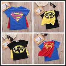 Summer Black/Blue Toddler Kids Boys Short Sleeve Cartoon Hero Superman Batmen T-Shirt with Cloak Tees Costume Clothes Tops 2-7Y(China)