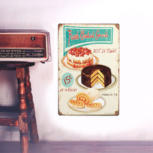 European Retro style Cake shop sign board metal Wall stickers iron crafts picture Furnishing articles painting draw bar house