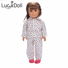 lucky doll Lovely handmade white star pattern pajamas for 18inch American girl doll accessories for kids best gift n542