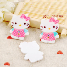 cartoon button Hello Kitty KT cat Figurine holiday decoration crafts flat back  resin DIY Handicraft hair  accessories