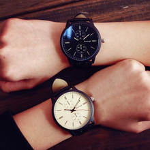 Minimalist Fashion Couples Watches For Women Men Leather Strap Big Dial Quartz Watch Female Clock Personality Wrist Watches #N