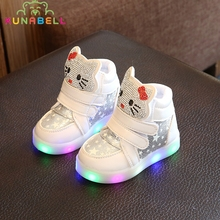 Kids Casual Lighted Shoes Girls Glowing Sneakers Children Hello Kitty Shoes With Led Light Baby Girl Lovely Boots C218