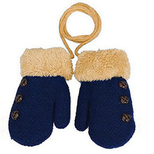 2017 New Children's Mittens Winter Wool Baby Knitted Gloves Children Warm Rope Baby Mittens For Children 1-3 years old(China)