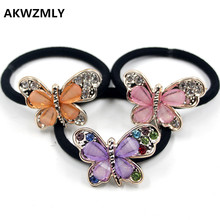 AKWZMLY 1PC New Fashion Women Elastic Hair Band Bow Crystal Rhinestone Hair Accessories Girls Jewelry Butterfly Handband Ropes