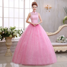 Free Shipping High Collar Lace Pink Wedding Dresses Vintage Floor Length Bride Ball Gowns Vestidos De Novia Casamento C-027