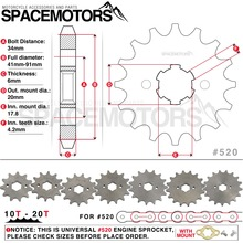 Front Engine Sprocket 520# 10T-20T 12 13 Teeth 20mm For 520 Chain With Plate Locker Motorcycle Dirt Bike PitBike ATV Quad Parts(China)