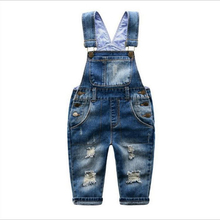 2 3 4 5 6 7 8 9 Years Kids Denim Jumpsuit 2017 New Fashion Children Overalls Jeans Pants Boys Girls Jeans Trousers(China)