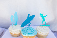 Super girl surfing Silhouette Cupcake Toppers sports event  Party Picks baby shower wedding birthday  toothpicks free shipping