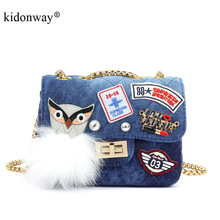 KIDONWAY Famouse Quilted Designer Canvas Mini Purse Handbag for Girls with Patches Women Messenger Bag Cute Shoulder Bag for Kid