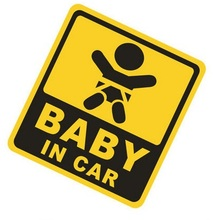 Innovation Design Baby in Car Warning Mark Reflective Material Car Stickers Personality Window Waterproof No Color Fading