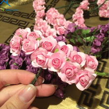 Longpean 144pcs Mini Paper Rose Handmade Artificial Flower For Wedding Decoration DIY Wreath Gift Scrapbooking Craft Fake Flower