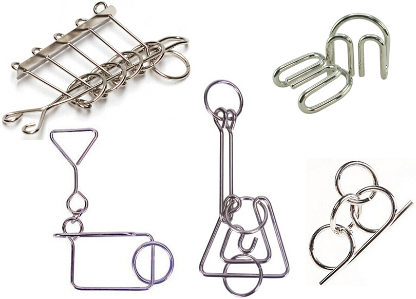 Classic IQ Metal Wire Puzzle Baffling Brain Teaser Magic Rings Puzzles Game Toys for Adults Children(China)