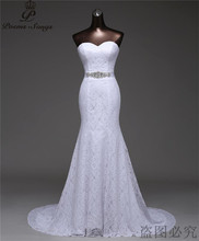 Free shipping beautiful Crystal belt bandage Sexy mermaid Wedding Dresses vestidos de noiva robe de mariage Bridal gown G530