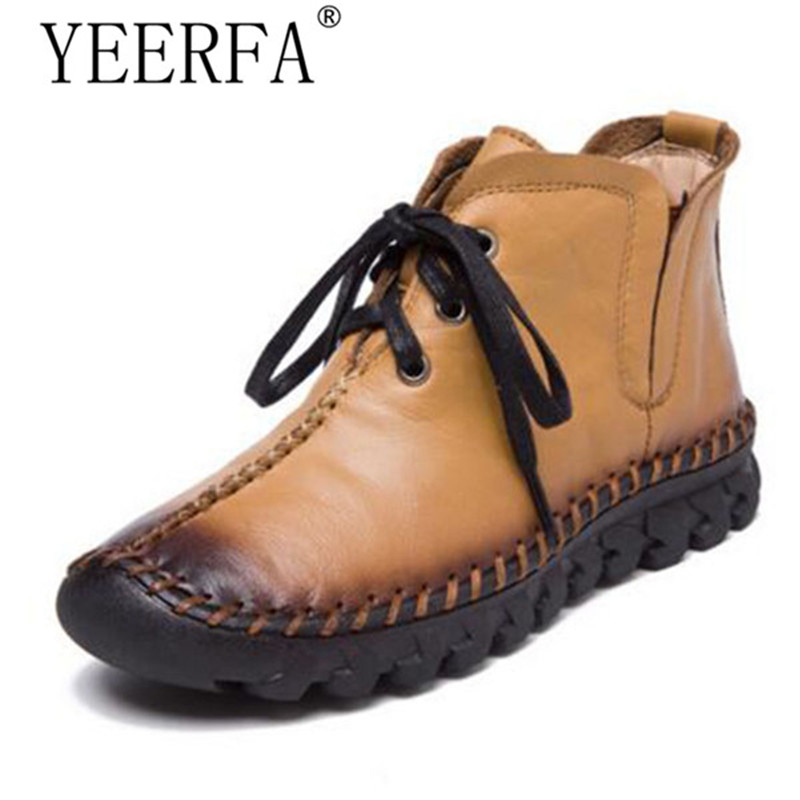 YEERFA women boots 2017 New Leather Winter Boots Handmade lace-up Woman Shoes Casual Full Grain Leather Ankle Boots For Women<br>