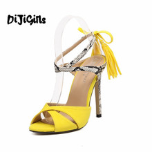 New Style Summer Yellow Tassel Peep Toe Stiletto High Heels Shoes Woman Snake Skin Cross-tied Slingback Sandals Black