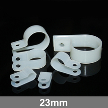 100pcs 23mm White Plastic Wire Hose Tubing Fanstening R-Type Line Card Fixed Cable Tie Mount Organizer Holder R Clip Clamp