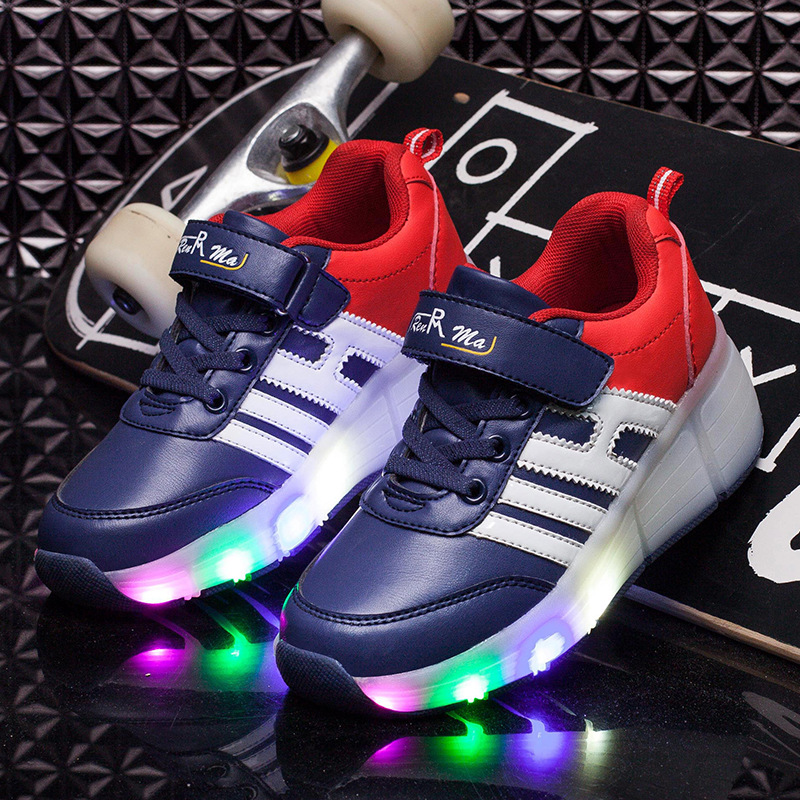 Childrens  Single Round of Walking Shoes Colorful Light - Emitting Fashion Shoes Fashion Trends Shine Sneakers<br>