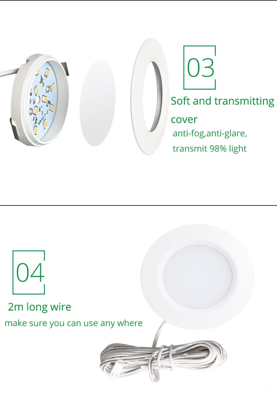 Under Cabinet Lights Puck Light 12V Round Aluminum Shelf Kitchen Closet Lamps LED Closet Lighting Night Showcase Counter Lamp (11)