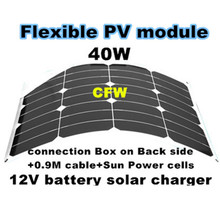 Factory price for flexible solar panel 40W, with 0.9M cable and MC4 connector, 12V battery solar power supply.