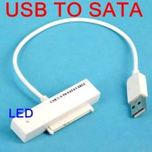 T USB to Sata 2.5 inch Hard Drive HDD Adapter Converter With LED Instruction Serial ATA DVD CD Cable For Laptop Optical white