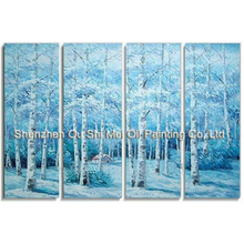 Hand Painted Birch Forest Winter Landscape Abstract Oil Paintings 4P Group of Blue Paintings on Canvas For Living Room Decor Art