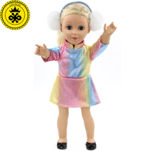 American Girl Doll Clothes Multicolor Dress Baby Girl Gift Doll Fashion Dress Clothes for 18 Inch Dolls+ Ear Decoration MG-158(China)