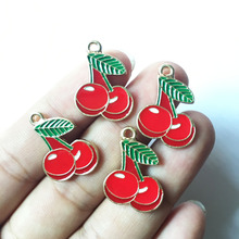 Mini Order 10PCs 22*16MM Fruit Cherry Alloy Charms Gold color Plated Oil Drop Enamel Bracelet Necklace Phone Chain Keyring Charm